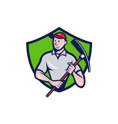 Construction Worker Pickaxe Crest Cartoon vector