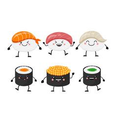 cute cartoon sushi set characters kawaii sushi vector image