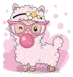 cute pink alpaca with bubble gum vector image