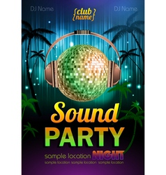 Disco background Disco poster sound party vector image