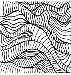 Doodle waves coloring page abstract black vector