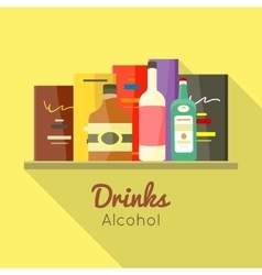 Drinks Alcohol Concept in Flat Design vector image