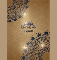 Eid mubarak card with mandalas frames decoration vector