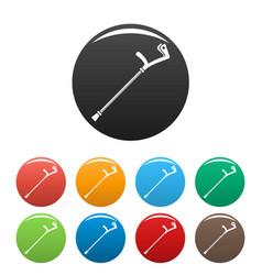 elbow crutch icons set color vector image