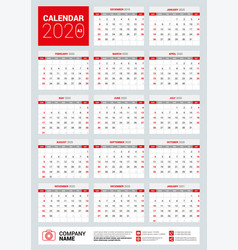 english calendar for 2020 years vector image