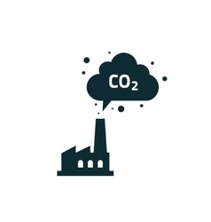 Factory plant silhouette chimney polluting co2 vector