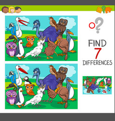 Find differences game with birds characters vector