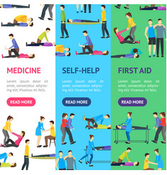 First aid emergency help with people banner vector