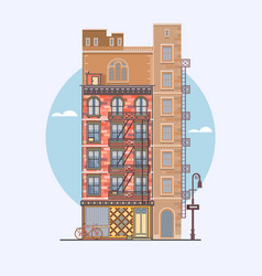 flat design retro and modern city houses vector image