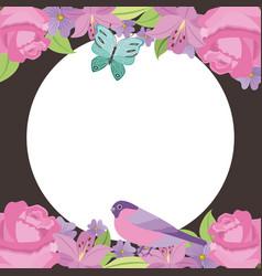 floral border decoration label blank birds vector image