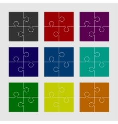 Four Color Piece Puzzle Round Infographic 4 Step vector
