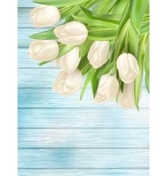 Fresh white tulips on wood planks eps 10 vector