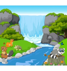 funny animal with waterfall landscape background vector image