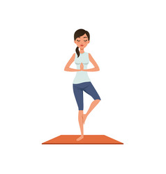 Girl standing in tree pose yoga position vector