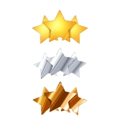 Golden silver and bronze three glossy rating vector image