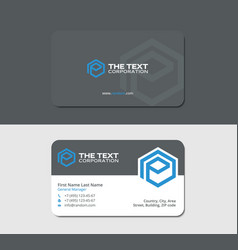 Gray business cards with blue hexagon letter p vector