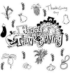 Hand draw thanksgiving vegetable in doodle vector