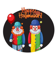 happy halloween badge with two creepy clowns vector image