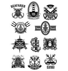heraldic icons nautical marine seafarer vector image