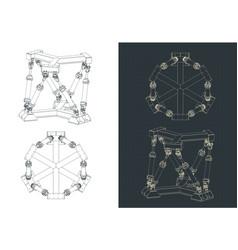 Hexapod mechanism blueprints vector