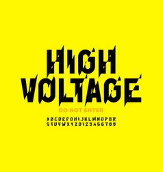 Hight voltage style font design alphabet letters vector