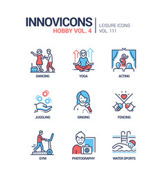 Hobby and activities - line design style icons set vector