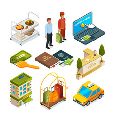Hotel reception isometric set of motel services vector