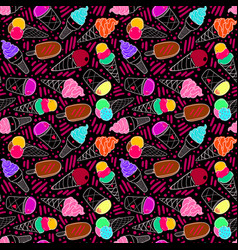 ice cream pattern 7 dark big vector image
