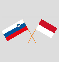Indonesian and slovenian flags vector
