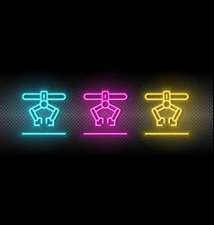 Industrial robot loading arm neon icon set vector