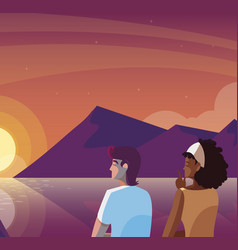 Interracial couple contemplating horizon sky vector