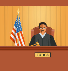Judge black man in courtroom flat vector