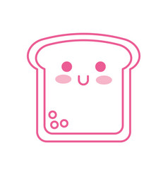 kawaii slice bread funny cartoon vector image