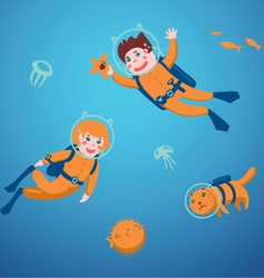 Kids diving vector