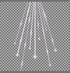 laser beams with stars and sparks purple color vector image
