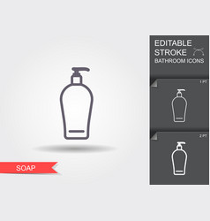liquid soap line icon with editable stroke with vector image
