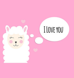 Little cute llama with heart for card and shirt vector
