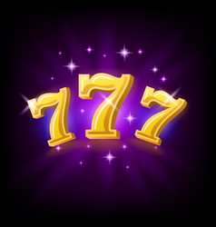 Lucky seven on slot machine icon for online vector