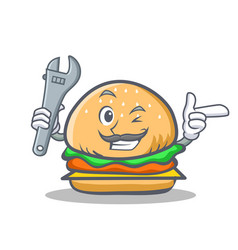 Mechanic burger character fast food vector