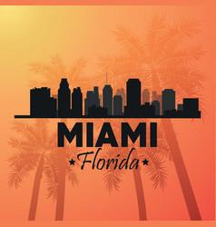 Miami florida design Palm tree and City icon vector