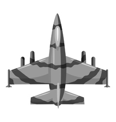 Military aircraft icon gray monochrome style vector
