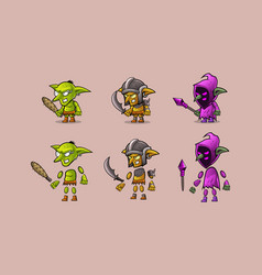 mini character warrior monster kit vector image