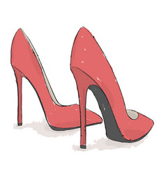 model shoes hand draw on a white background vector image vector image
