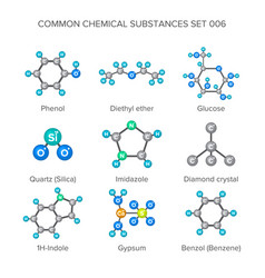 molecular structures of chemical substances vector image
