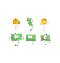 Money bills and golden coins characters with funny vector