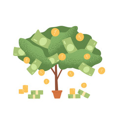 Money tree in pot with cash on branches plant vector