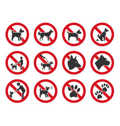 no dogs allowed dog prohibition sign set vector image
