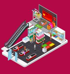 online mobile shopping e-commerce concept 3d vector image