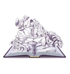 Open book of legend of prometheus vector