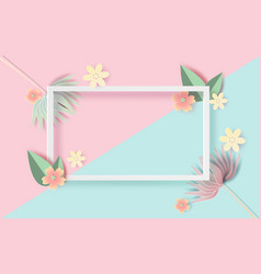 paper art and craft of floral rectangle frame vector image